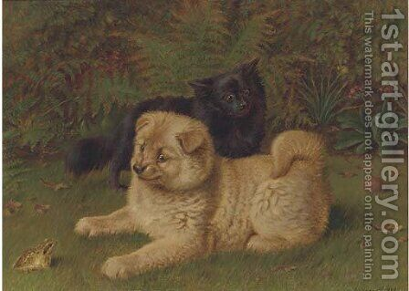 Chow pomeranians in a garden by Horatio Henry Couldery - Reproduction Oil Painting