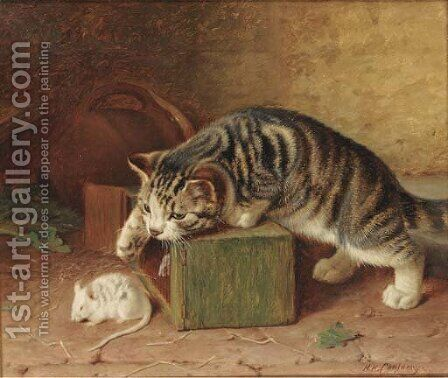 Stalking the pet mouse by Horatio Henry Couldery - Reproduction Oil Painting