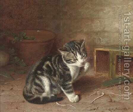 The naughty kitten by Horatio Henry Couldery - Reproduction Oil Painting