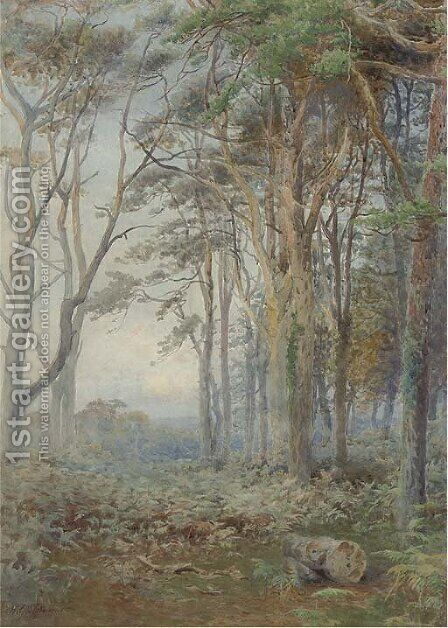 The moon rising over a woodland ride by Howard Gull Stormont - Reproduction Oil Painting