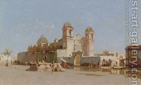 Church in Mexico by Howard Russell Butler - Reproduction Oil Painting