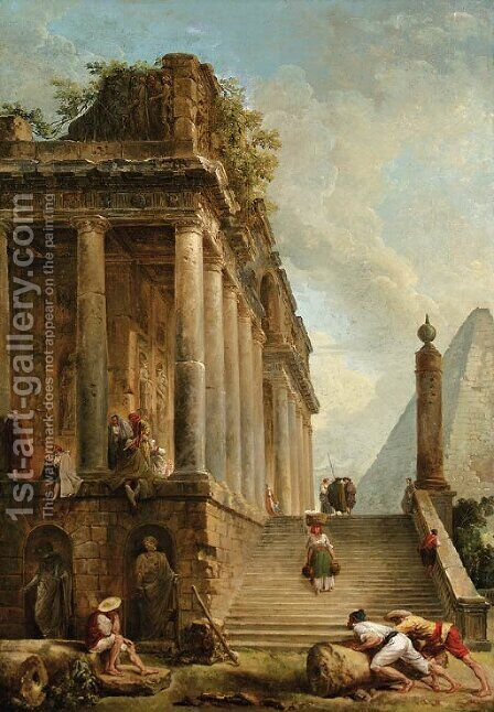 A capriccio of a ruined classical temple and a Pyramid with a flight of steps by Hubert Robert - Reproduction Oil Painting