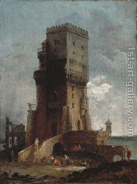 A capriccio of a tower with figures in the foreground, ruins and the sea beyond by Hubert Robert - Reproduction Oil Painting