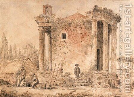 A capriccio with the Temple of the Sybil at Tivoli, Capuchin priests standing amongst the ruins by Hubert Robert - Reproduction Oil Painting