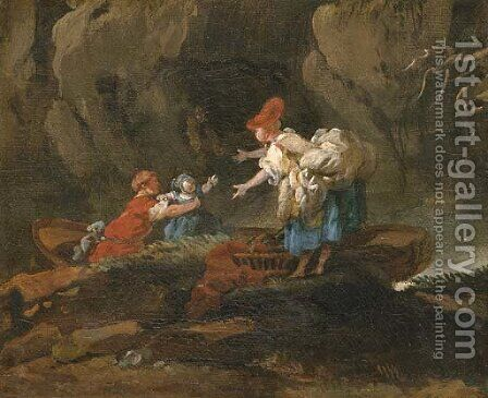 A family disembarking from a boat in a rocky river landscape by Hubert Robert - Reproduction Oil Painting