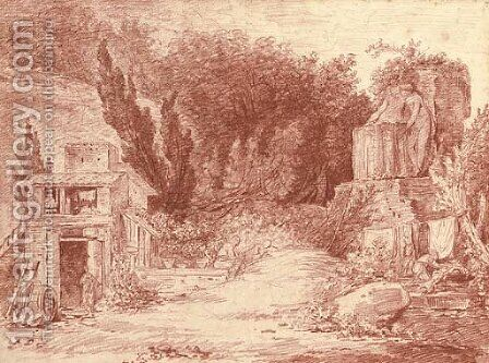 A farm among classical ruins by Hubert Robert - Reproduction Oil Painting