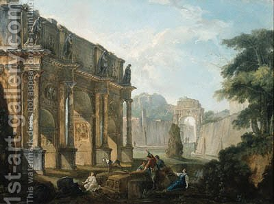 Capricci of Roman ruins with figures conversing and resting by Hubert Robert - Reproduction Oil Painting