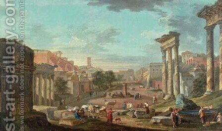 A capriccio of the Campo Vaccino with figures amongst ruins by Hubert Robert - Reproduction Oil Painting