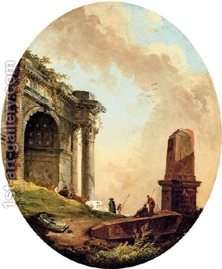 Drovers and their livestock before a ruined arch and obelisk by Hubert Robert - Reproduction Oil Painting