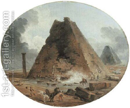 The sack of two pyramids by Hubert Robert - Reproduction Oil Painting