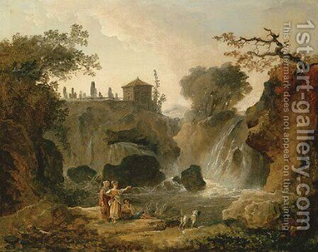 The waterfall at Tivoli with figures resting by the pool by Hubert Robert - Reproduction Oil Painting