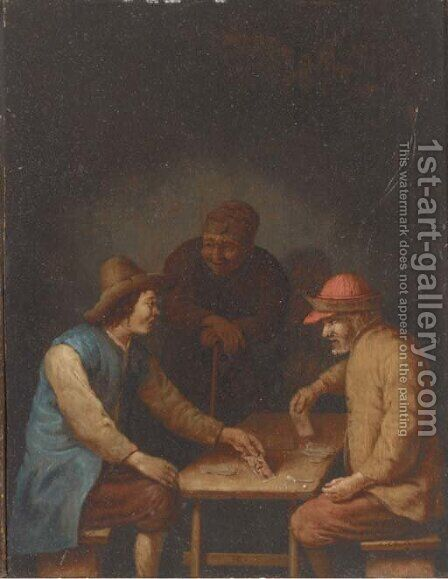 Peasants playing cards in an interior by Hubert van Ravesteyn - Reproduction Oil Painting