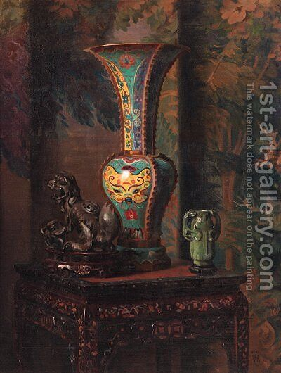 A still life with Chinese objects by Hubert Vos - Reproduction Oil Painting