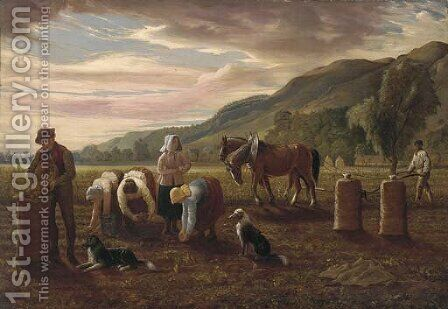 The potato pickers by Hugh Collins - Reproduction Oil Painting