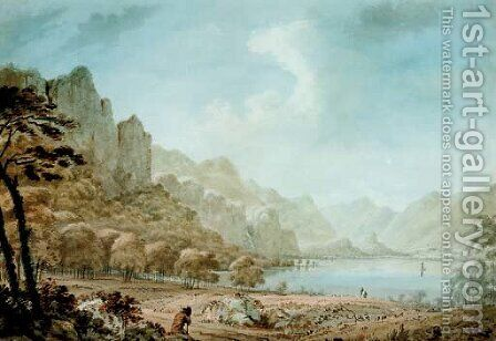 View of Derwent Water with a traveller resting in the foreground by Hugh William Williams - Reproduction Oil Painting