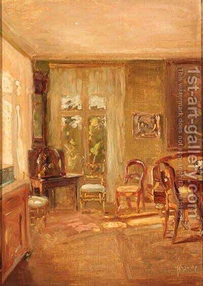 A sunlit interior by Hugo Vilfred Pedersen - Reproduction Oil Painting