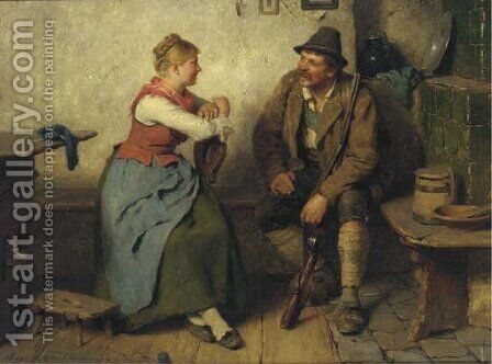 Jager im Wirtshaus a huntsman in a tavern by Hugo Kauffmann - Reproduction Oil Painting
