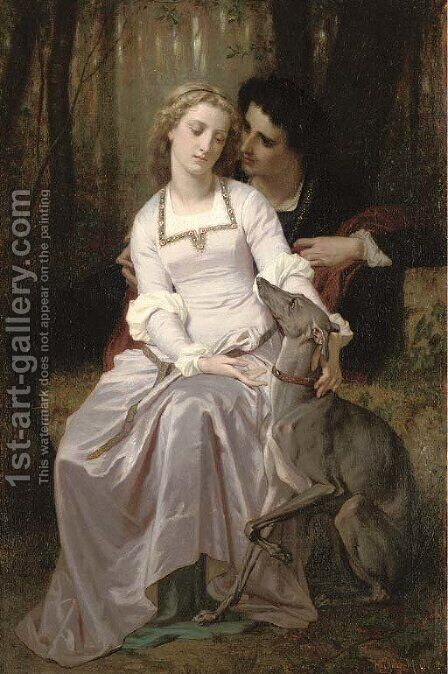 Romeo et Juliette by Hugues Merle - Reproduction Oil Painting