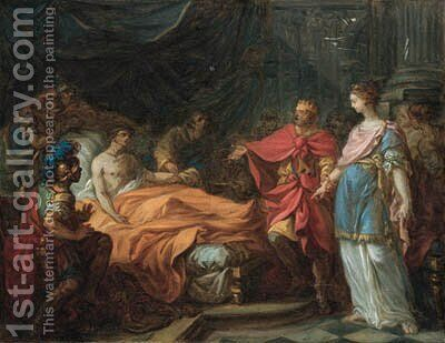 The Death of Antiochus by Hugues Taraval - Reproduction Oil Painting