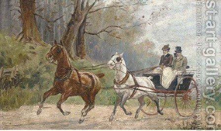 Figures in a carriage by Hungarian School - Reproduction Oil Painting