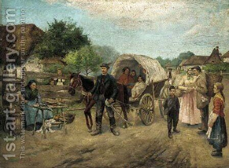 The road to market by Hungarian School - Reproduction Oil Painting