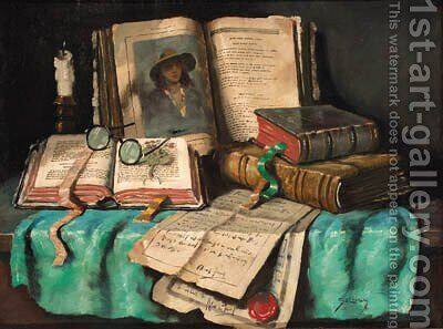 Books and letters on a table by Hungarian School - Reproduction Oil Painting