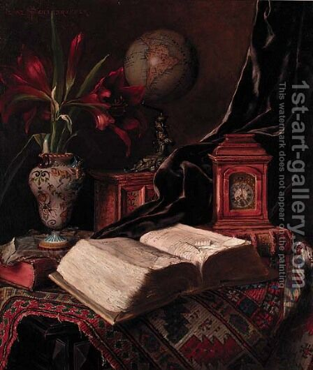 A globe, a vase of amaryllis, a book and a carriage clock on an oriental rug by Ignaz Schonbrunner - Reproduction Oil Painting
