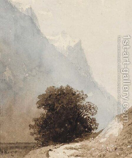 Leafy Bush in a mountainous Landscape by Ilya Efimovich Efimovich Repin - Reproduction Oil Painting