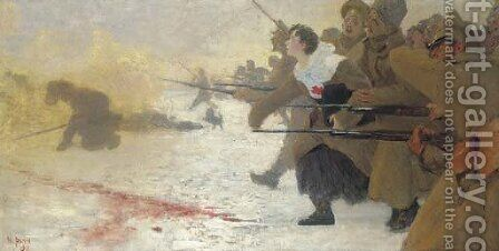 The Attack with the Red Cross Nurse by Ilya Efimovich Efimovich Repin - Reproduction Oil Painting