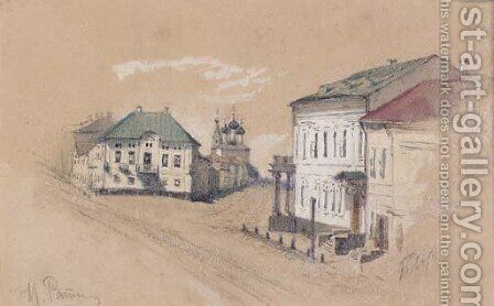 View of a Crossroads and Church in Tver' by Ilya Efimovich Efimovich Repin - Reproduction Oil Painting