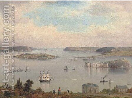 A panoramic view of Cork Harbour  A two-decker, paddlesteamers and other shipping inshore by Irish School - Reproduction Oil Painting