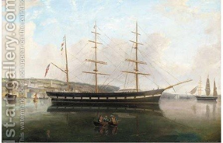 Carl Haasted at Arendel Fort, Cpt. N. Maroni, Queenstown, 1882; and Inca lying at anchor, Queenstown by Irish School - Reproduction Oil Painting