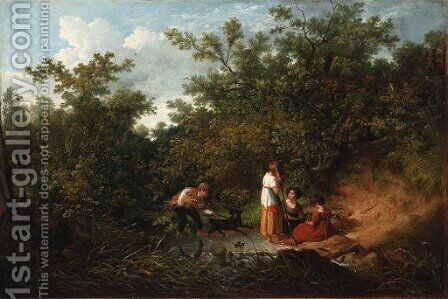 Children playing by a pond in a wood by Irish School - Reproduction Oil Painting