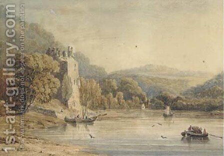 Fishermen on a lake below a ruined castle by Irish School - Reproduction Oil Painting