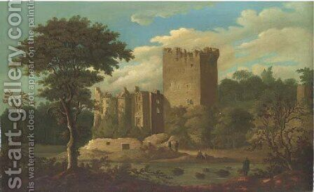 View of Blarney Castle, Cork, Ireland, with figures in the foreground by Irish School - Reproduction Oil Painting