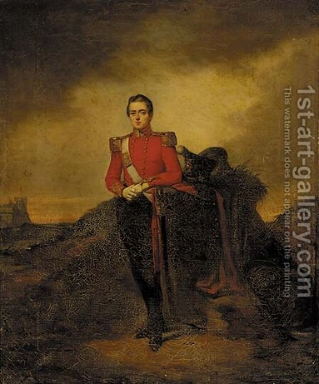 Portrait of an officer, small full-length, in a landscape, a castle beyond by Irish School - Reproduction Oil Painting