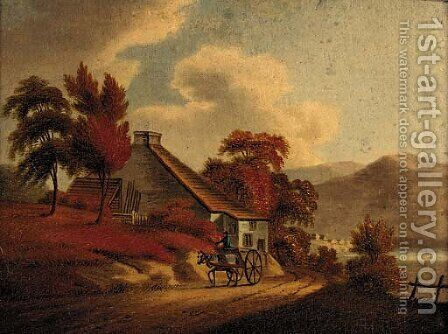 A figure riding a horse and trap outside a cottage, a mountainous lake landscape beyond; and Another similar by Irish School - Reproduction Oil Painting