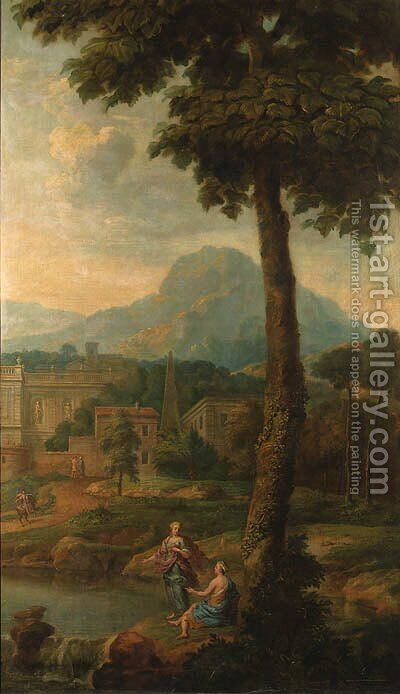 Italianate landscapes with figures and classical buildings by Isaac de Moucheron - Reproduction Oil Painting