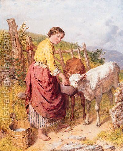 Feeding the Calves by Isaac Henzell - Reproduction Oil Painting