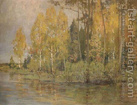 A wooded river landscape with silver birches by Isaak Ilyich Levitan - Reproduction Oil Painting