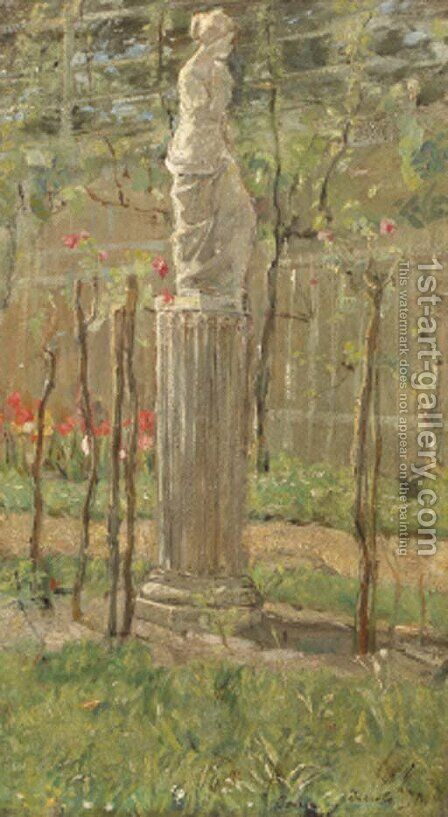 A classical statue in a park by Isaac Israels - Reproduction Oil Painting