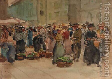 A vegetable market in Bern, Switzerland by Isaac Israels - Reproduction Oil Painting