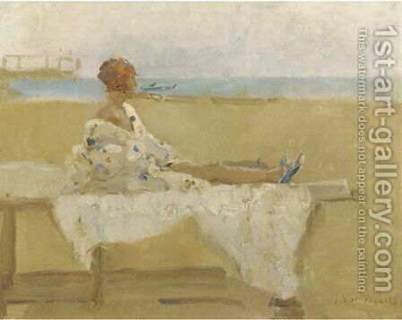 An elegant lady on the beach of Viareggio, Italy by Isaac Israels - Reproduction Oil Painting