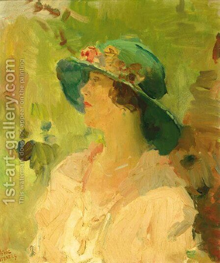 Dame met groene hoed a lady with a green hat by Isaac Israels - Reproduction Oil Painting