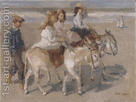 Ezeltje rijden a donkey-ride on the beach by Isaac Israels - Reproduction Oil Painting