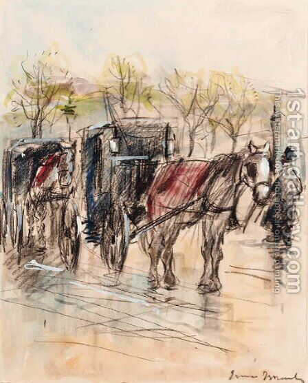 Horse drawn carriages by Isaac Israels - Reproduction Oil Painting