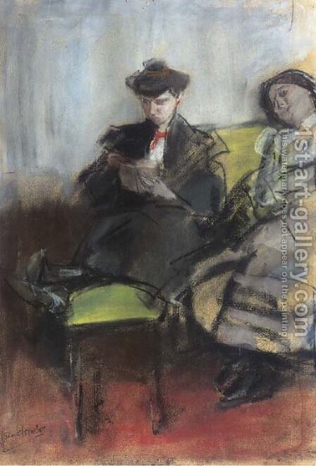 Interieur met twee dames by Isaac Israels - Reproduction Oil Painting