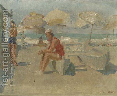 Lidostrand met parasols en bootjes at the beach of the Lido, Venice by Isaac Israels - Reproduction Oil Painting