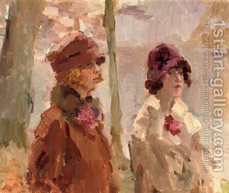 Meisjes in het Haagsche Bosch elegant ladies strolling in the park by Isaac Israels - Reproduction Oil Painting