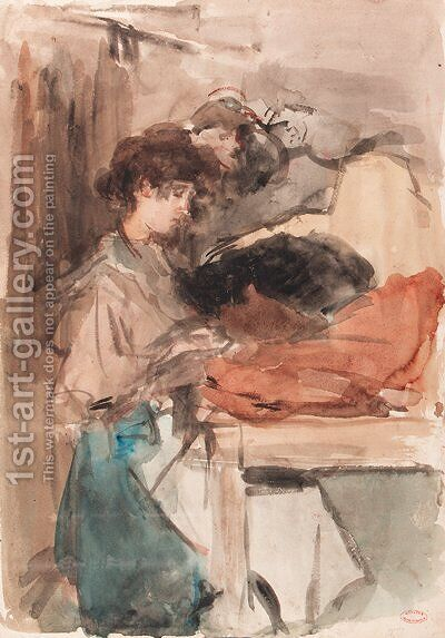 Seamstresses at work in Paguin's studio, Paris by Isaac Israels - Reproduction Oil Painting